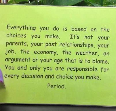 everything you do is based on the choices you make, it's not your parents, your past relationships, your job, the economy, an argument or your age that is to blame, you are responsible for every decision and choice you make