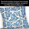these floral pillow designs look exactly like your grandma's pillows, except for one little distinct differnce