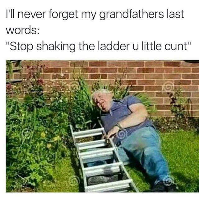 i'll never forget my grandfathers last words, stop shaking the ladder u little cunt