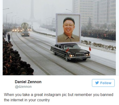 when you take a great instagram pic but remember you banned the internet in your country