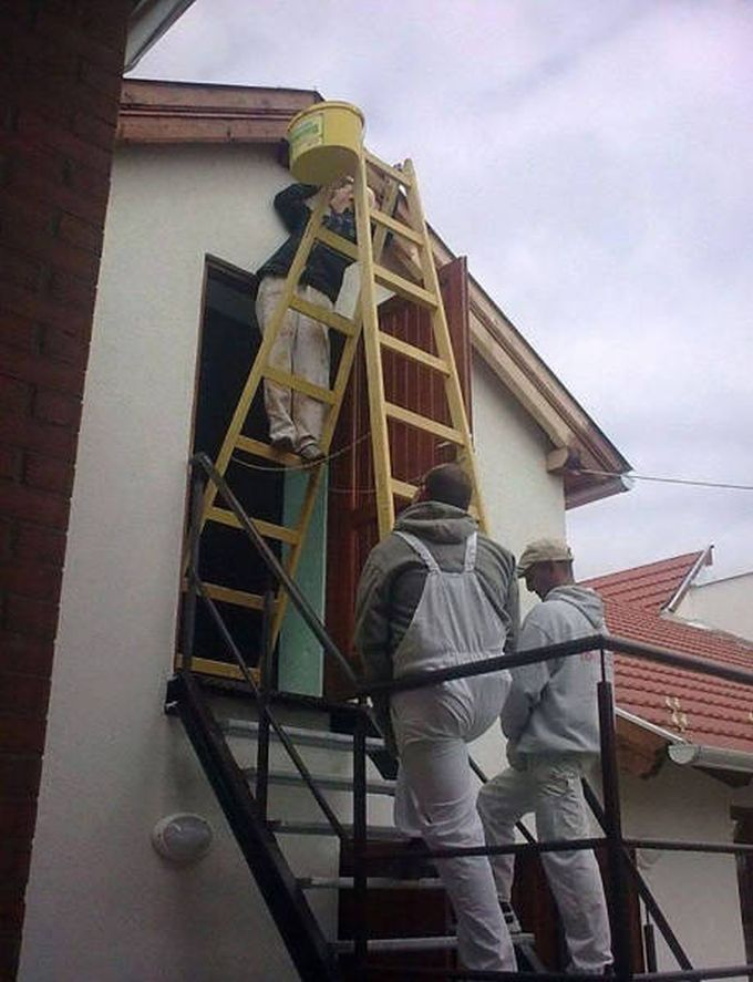 safety at it's worst, ladder on steps and legs, wtf