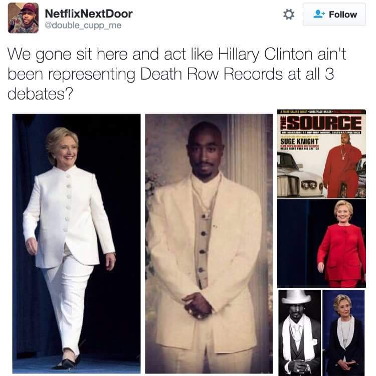 we gone sit here and act like hillary clinton ain't been representing death row records at all 3 debates