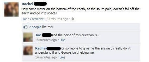 how come water on the bottom of the earth, at the south pole, doesn't fall off the earth and go into space?