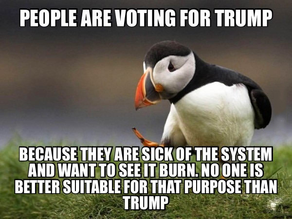 people are voting for trump because they are sick of the system and want to see it burn, no one else is better suitable for that purpose than trump, unpopular opinion puffin, meme
