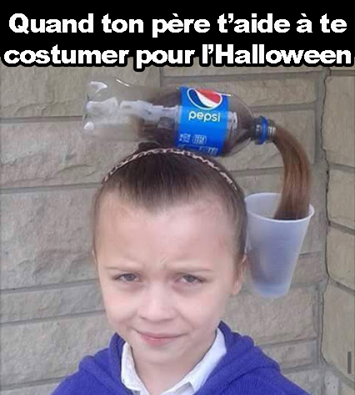 quand ton pere t'aide a te costumer pour halloween, halloween pepsi pouring costume
