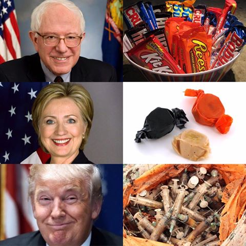 bernie sanders, hillary clinton, donald trump, candy bars, caramel, used needles