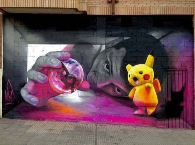dark pokemon graffiti mural