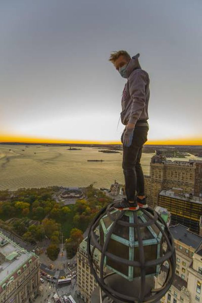 when you're standing on top of the world, extreme parkour