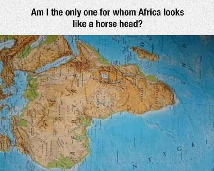 am i the only one for whom africa looks like a horse head?