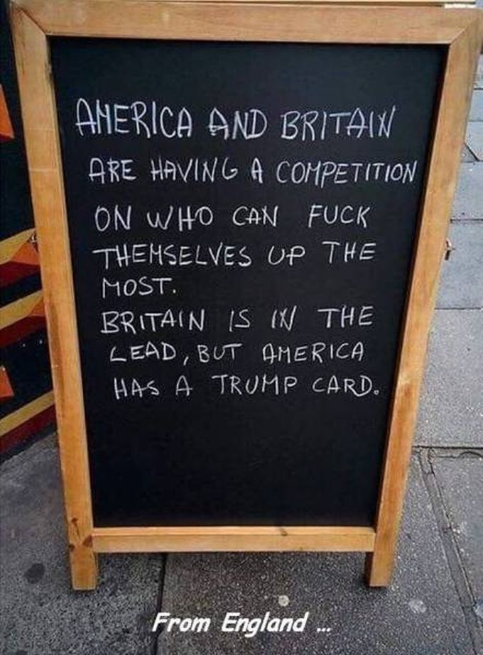 america and britain are having a competition on who can fuck themselves up the most, britain is in the lead but america has a trump card, spoiler, america won