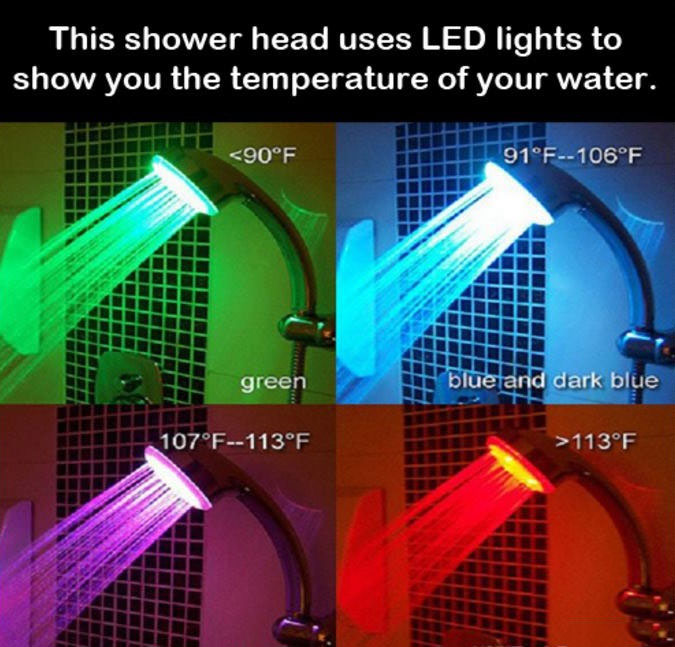 this shower head uses led lights to show you the temperature of your water