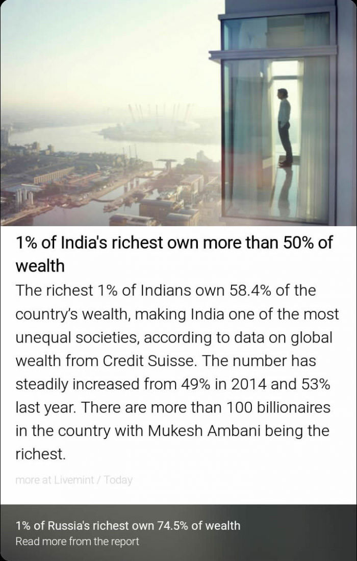 1% of india's richest own more than 50% of wealth, the richest 1% of indians own 58.4% of the country's wealth, 1% of russia's richest own 74.5% of wealth