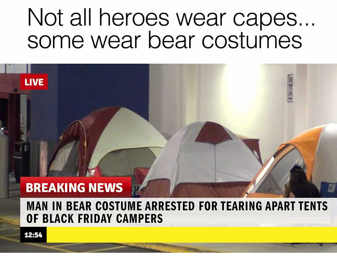 not all heroes wear capes, some wear bear costumes, man in bear costume arrested for tearing apart tents of black friday campers
