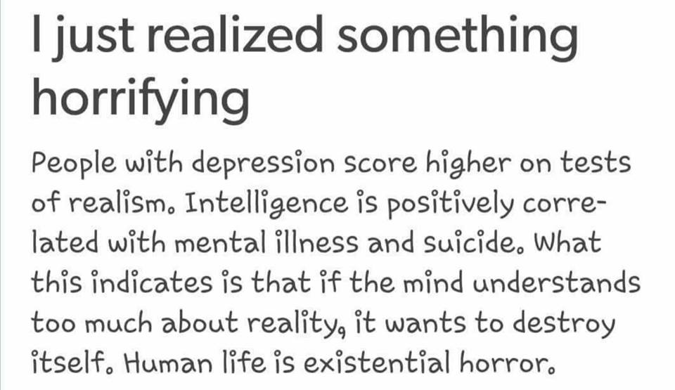 i just realized something horrifying, people with depressing score higher on tests of realism, intelligence is positively correlated with mental illness and suicide, human life is existential horror