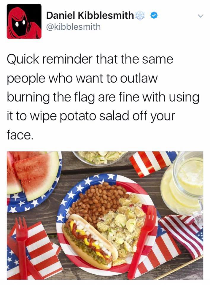 quick reminder that the same people who want to outlaw burning the flag are fine with using it to wipe potato salad off your face