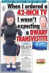 when i ordered a 42 inch tv i wasn't expecting a dwarf transvestite, wtf