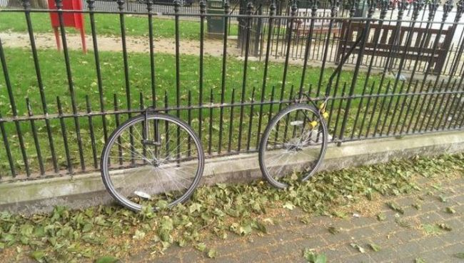 two bicycle wheels locked to a fence, suspicious