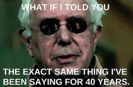 what if i told you the exact same thing i've been saying for 40 years, bernie sanders, morpheus meme