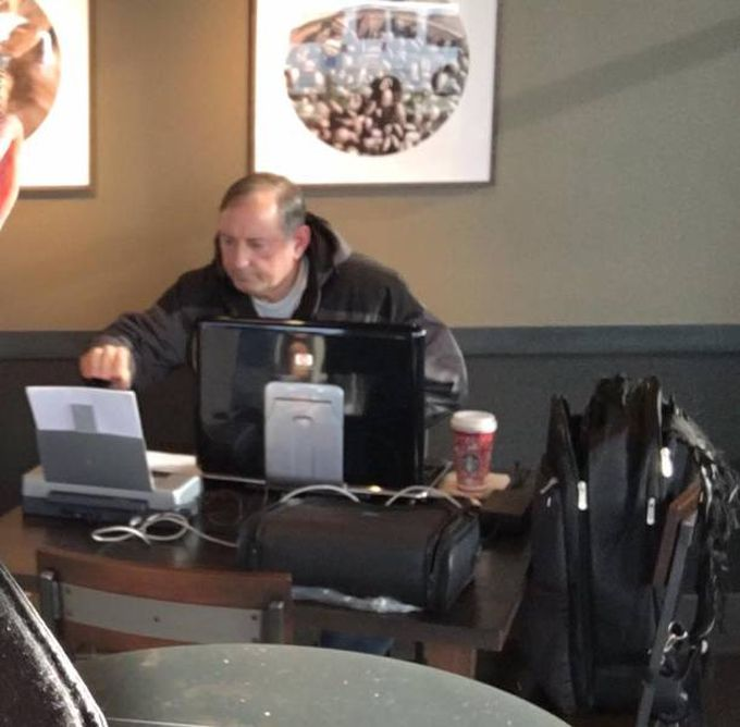 old man brings entire tower computer, monitor and printer to cafe