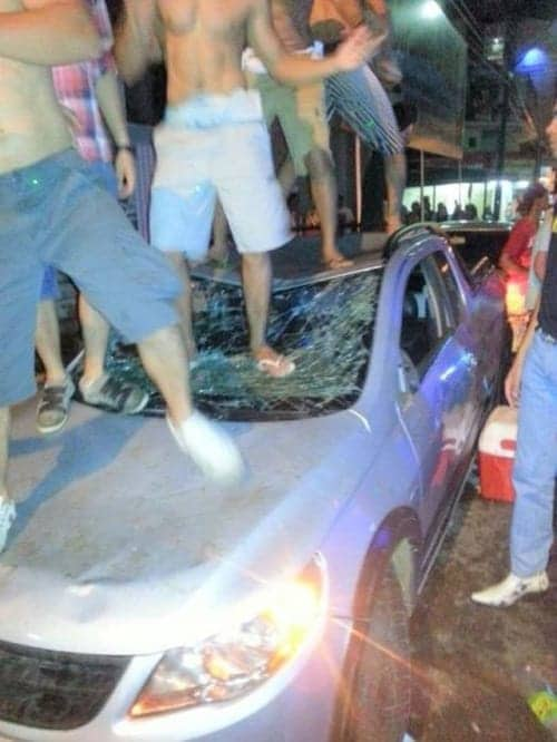 when partying gets out of hand, crushed windshield because guys were dancing on it