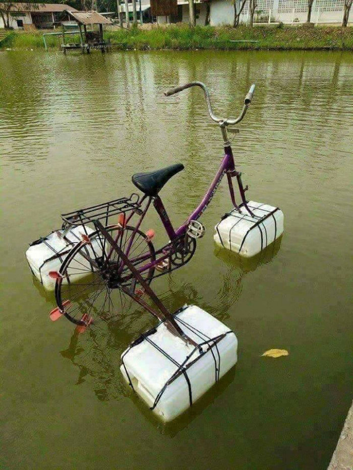 check out my new ride, water bicycle