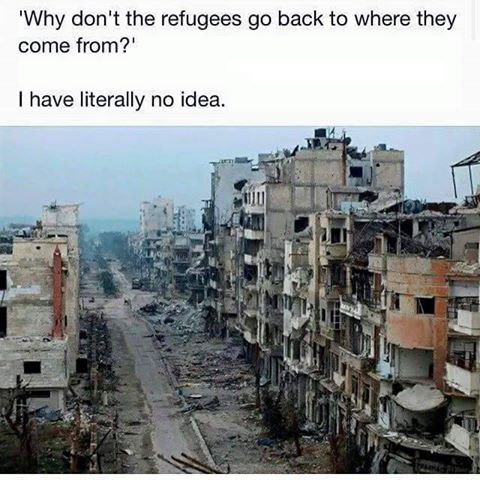 why don't the refugees go back to where they come from, i have literally no idea