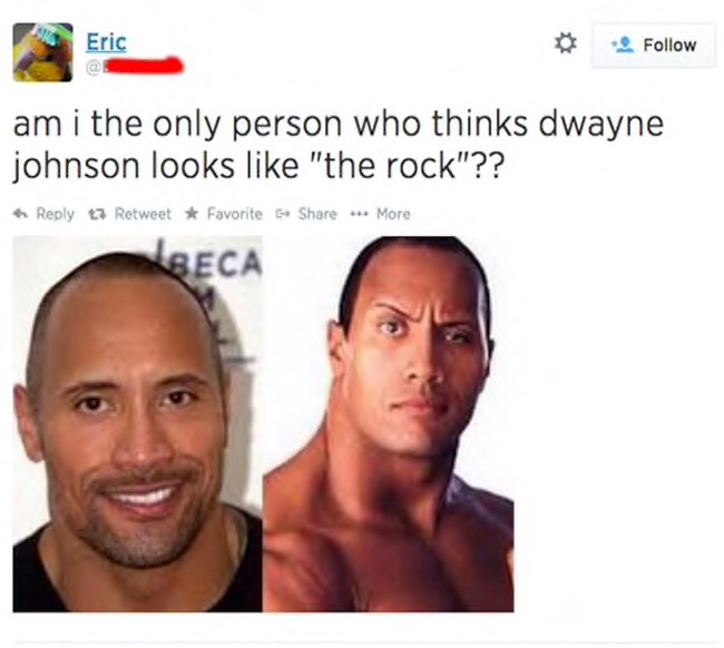 am i the only person who thinks dwayne johnson looks like the rock