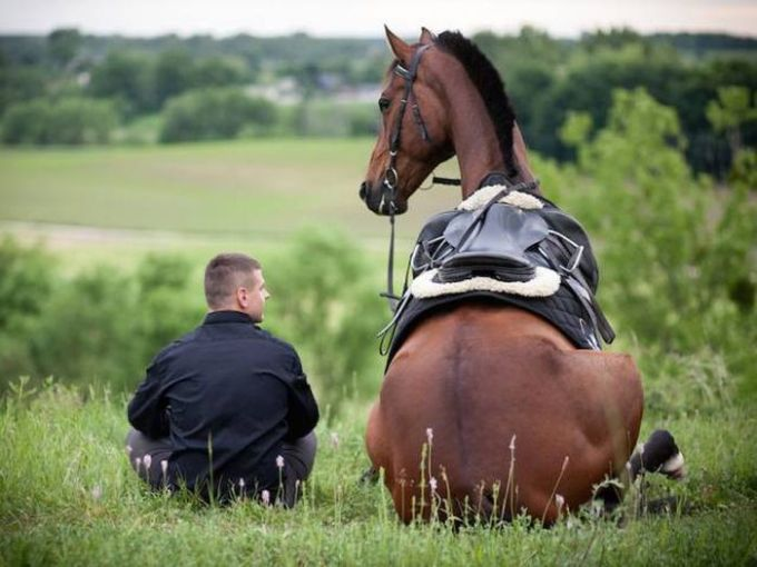 man is sitting on a hill with a horse