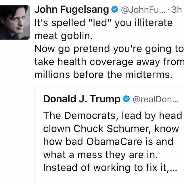 it's spelled led you illiterate meat goblin, now go pretend you're going to take health coverage away from millions before the midterms
