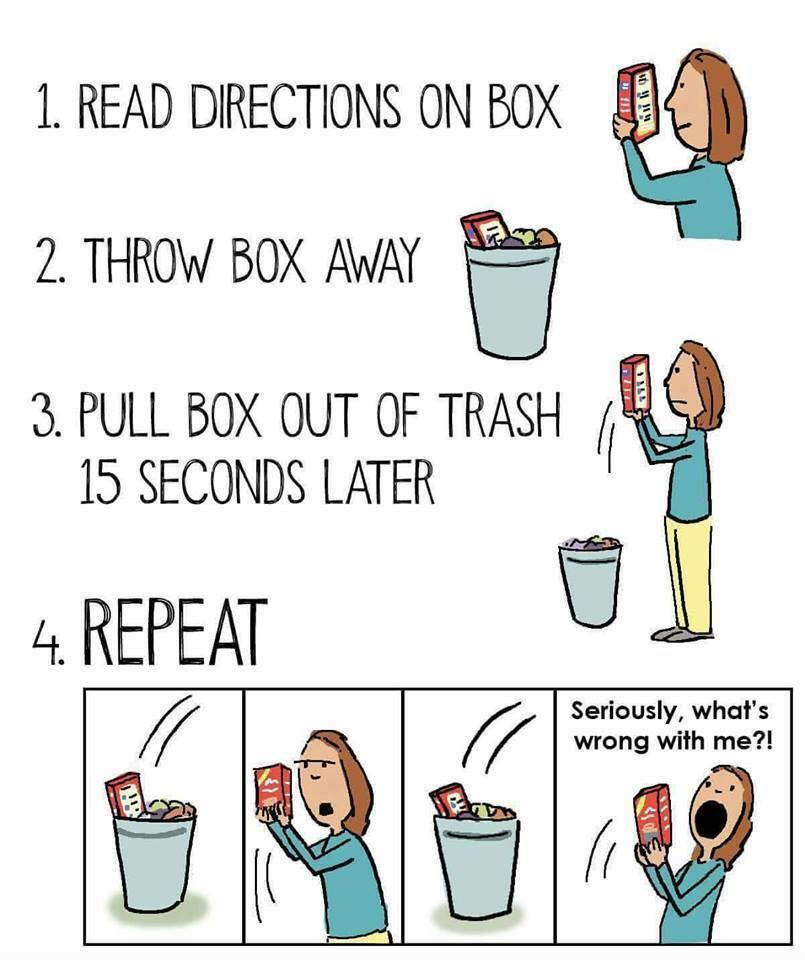 read directions on box, throw box awat, pull box out of trash 15 seconds later, repeat