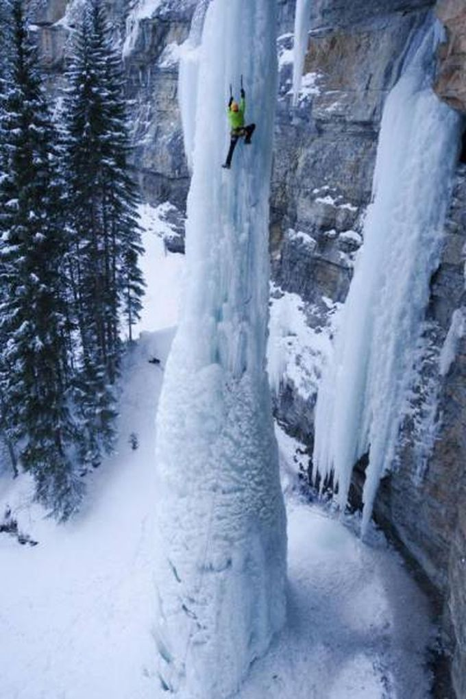 climbing a huge frozen water spout