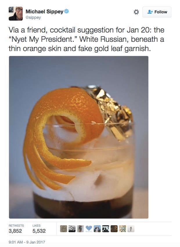 cocktail suggestion for jan 20, the nye my president, white russian beneath a thing orange skin and fake gold leaf garnish
