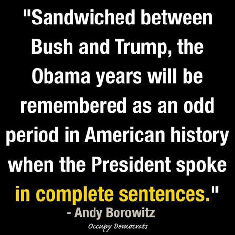 sandwiched between bush and trump, the obama years will be remembered as an odd period in american history when the president spoke in complete sentences, andy borowitz