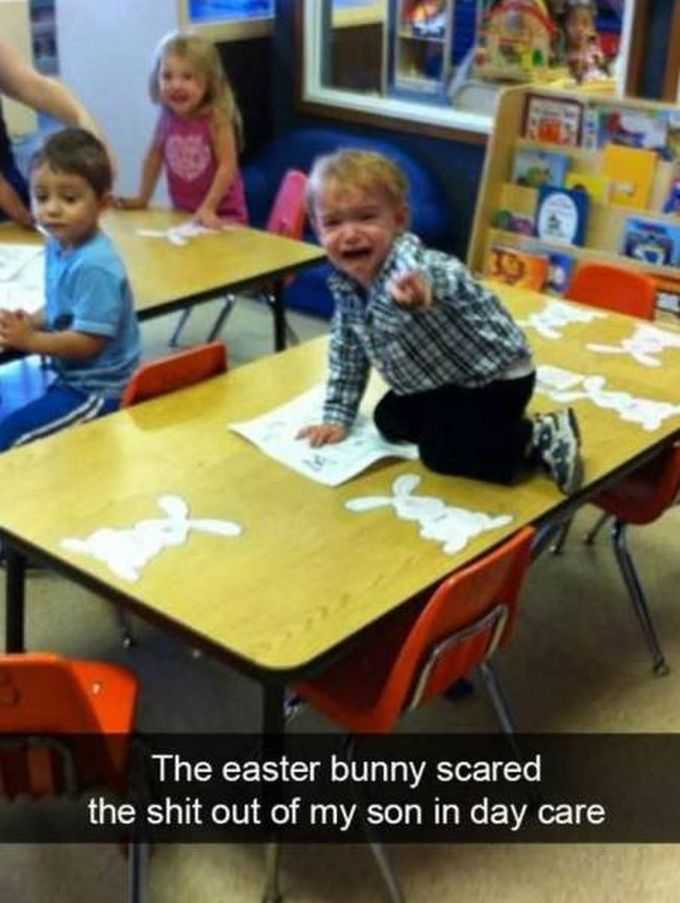 the easter bunny scared the shit out of my son in day care