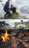 two guys save a sheep from a river, bbq