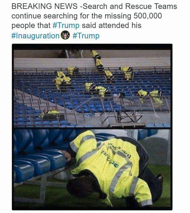 search and rescue teams continue searching for the missing 500000 people that trump said attended his inauguration
