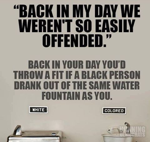 back in my day we weren't so easily offended, back in your day you'd throw a fit if a black person drank out of the same water fountain as you