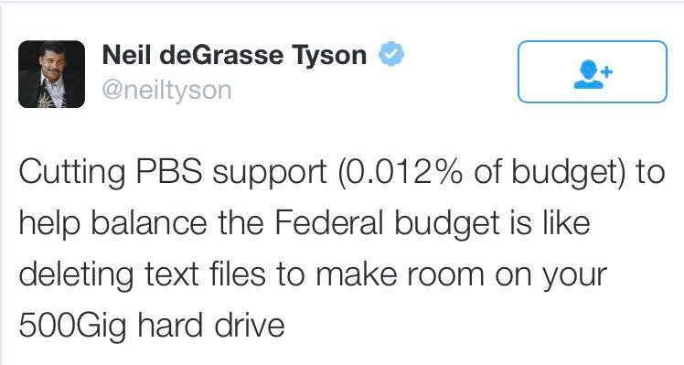 cutting pbs support 0.012% of budget, to help balance the federal budget is like deleting text files to make room on your 500gig hard drive, neil degrasse tyson