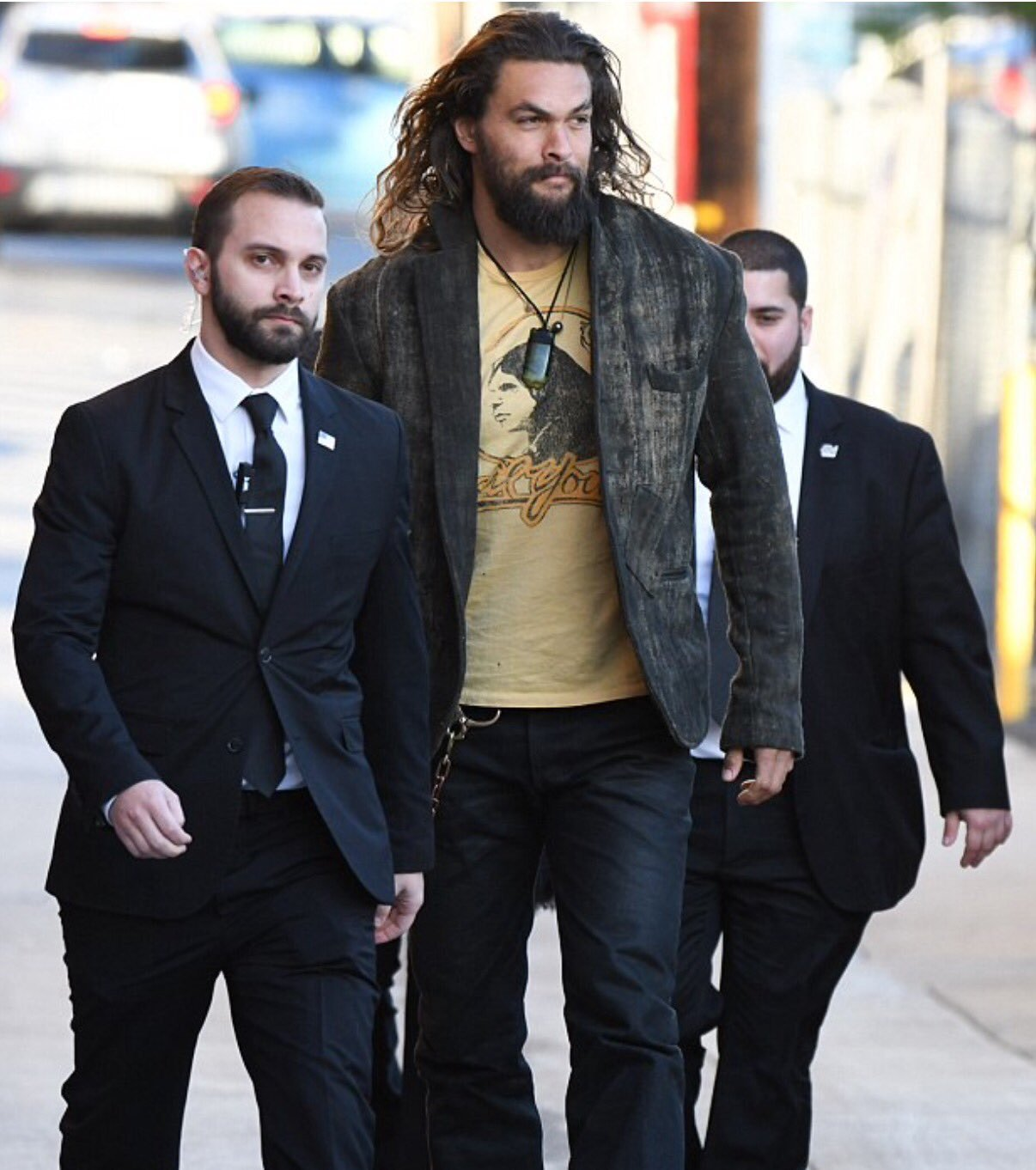 jason momoa's bodyguards look like mini bosses you have to beat before you fight him