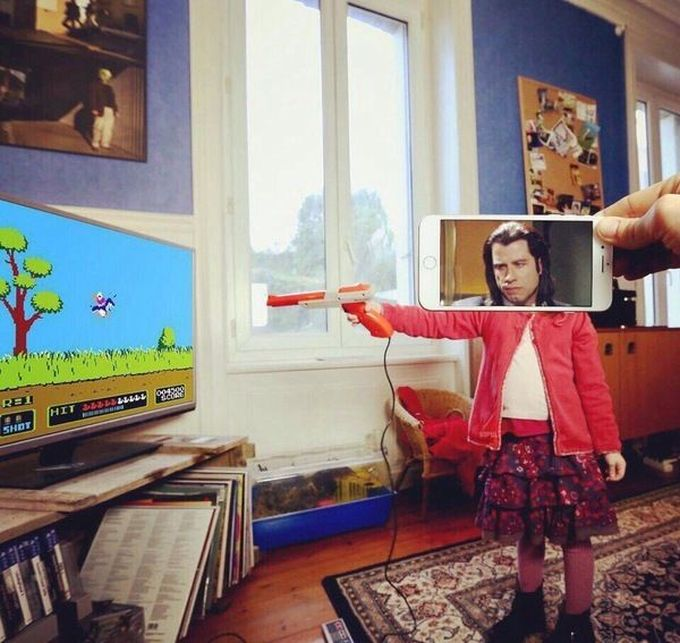 john travolta as my daughter playing duck hunt
