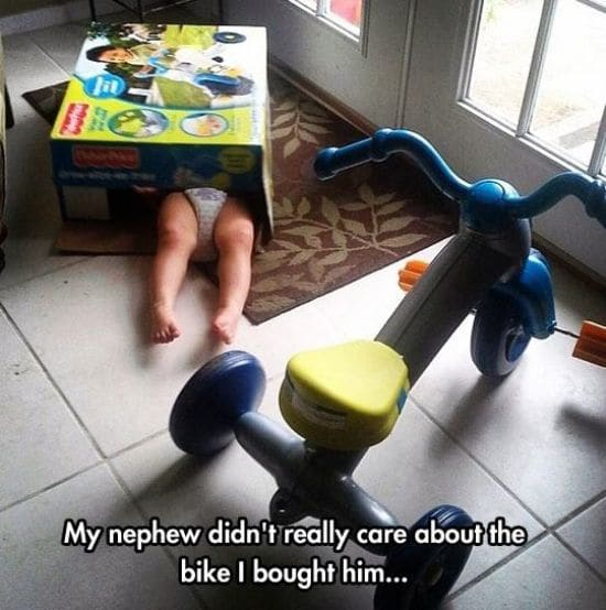 my nephew didn't really care about the bike i bought him, toddler in toy box