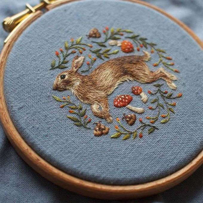 realistic rabbit fur embroidering