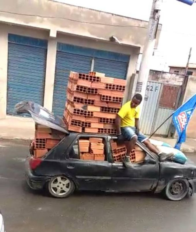 small car loaded with bricks, wtf