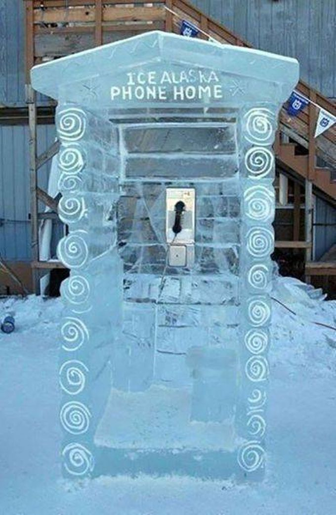 ice alaska phone home, ice telephone booth