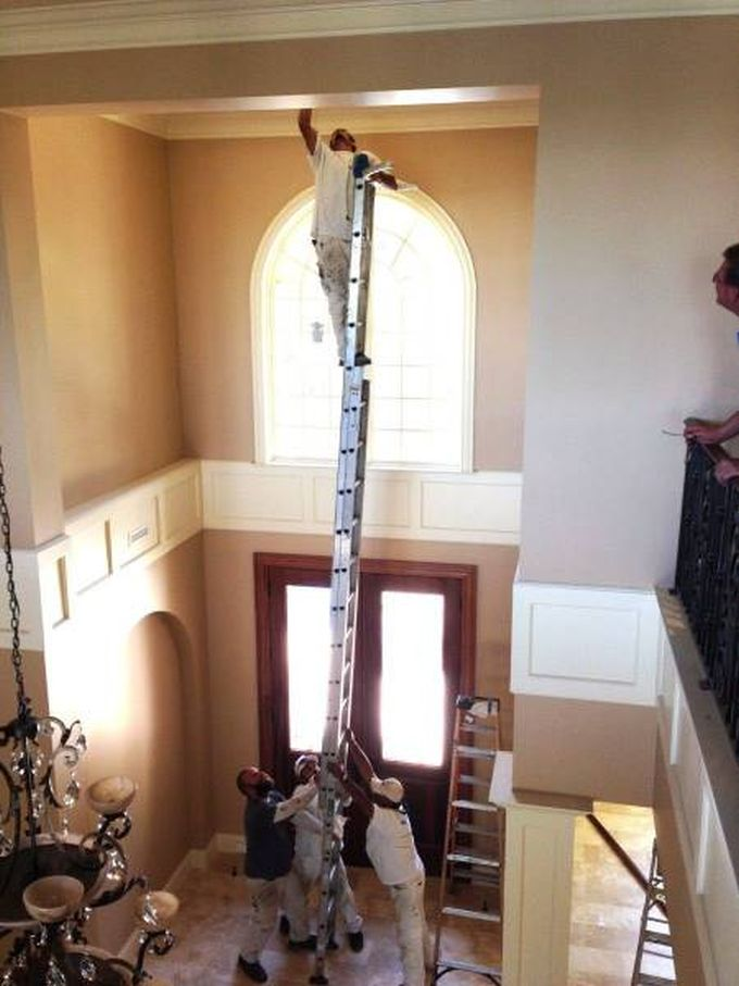 why women live longer, four men one ladder painting the ceiling