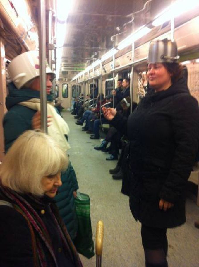 a couple of pot heads in public transportation, subway, actual pots