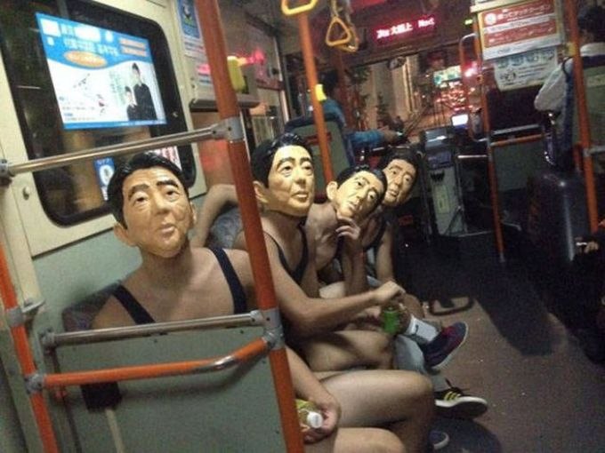 masks on the bus, creepy as fuck, wtf