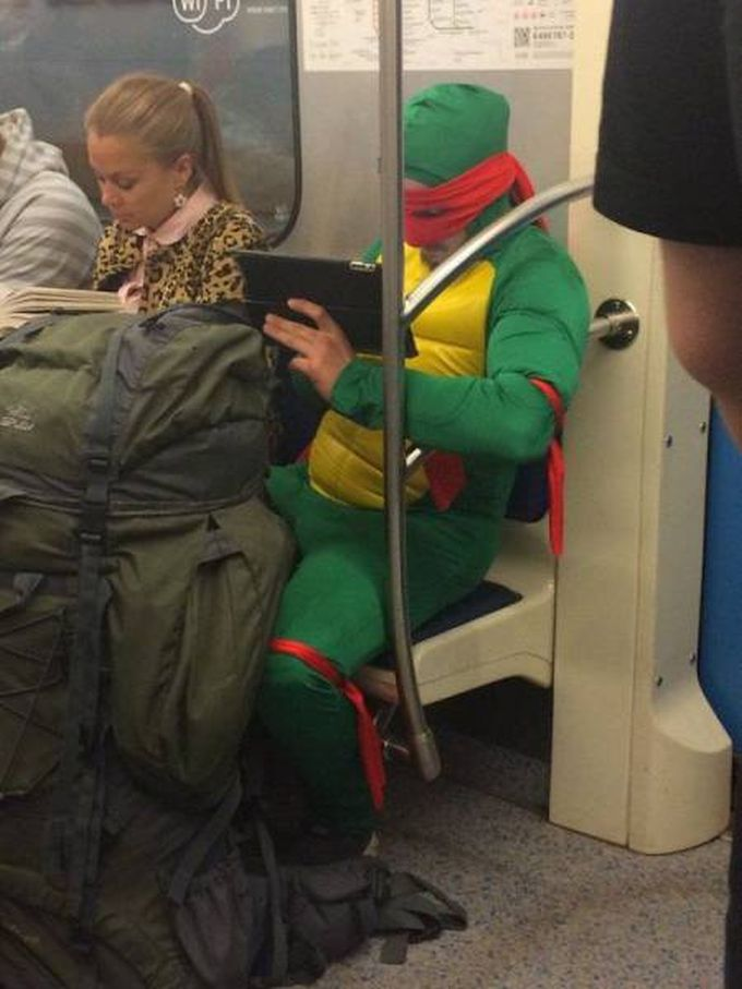 teenage mutant ninja turtle costume in the subway