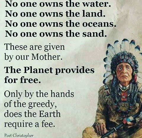 no one owns the land, no one owns the water, no one owns the oceans, no one owns the sand, these are given by our mother, the planet provides for free
