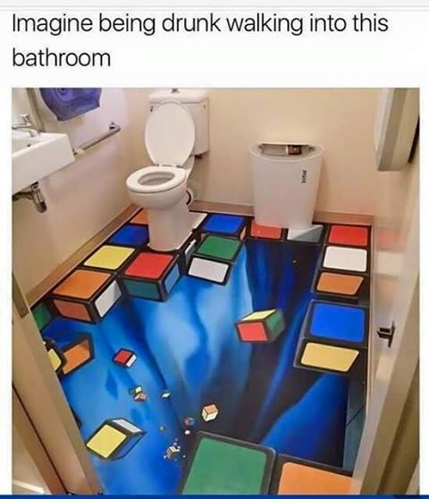 imagine being drunk walking into this bathroom, ruby cube falling away floor art